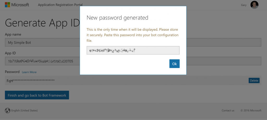 Generated App Id and Password