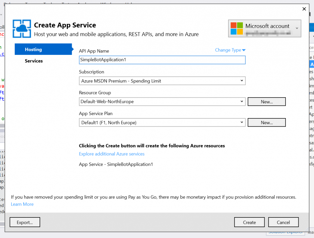 Configure your new Azure App Service
